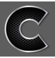 Metal grid font - letter C vector image