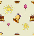 pattern with sun bell and cake vector image vector image