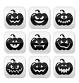 Halloween pumkin buttons set vector image