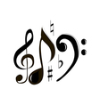 treble clef and note vector image