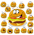 hamburger cartoon with many expressions vector image