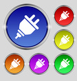 plug icon sign Round symbol on bright colourful vector image