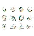 swirl circle logo set vector image vector image