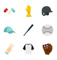 baseball equipment icons set flat style vector image