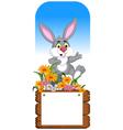 funny rabbit cartoon posing with blank board vector image