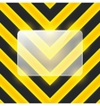 glass banner on black and yellow stripes vector image