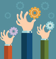 Hands holding gears Business synergy concept vector image