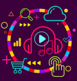 Headphones and note on abstract colorful geometric vector image