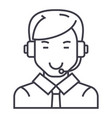 man with headset line icon sign vector image