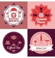 Restaurant menu emblem set color vector image