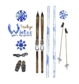 Set of vintage ski equipment vector image