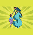 business team scrambles on the dollar vector image vector image