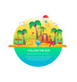 follow the sun - line travel vector image