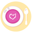 Pink love soup isolated on orange background vector image