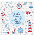 Nautical Sea Card - for scrapbook and design vector image