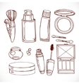 Set of doodles on cosmetics creameye shadow vector image vector image