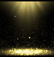 background with golden confetti and rays of light vector image
