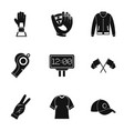 baseball equipment icons set simple style vector image
