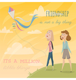 girls fly a kite funny cartoon characters vector image