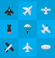 set of simple aircraft icons vector image