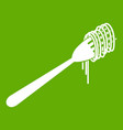 spaghetti on a fork icon green vector image