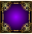 frame with vegetable and golden pattern vector image