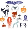Happy Halloween symbols with grunge texture vector image vector image