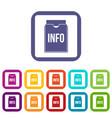 Info folder icons set flat vector image