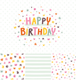 Birthday card and seamless patterns set vector image
