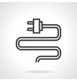 Wire with plug black line icon vector image