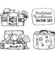 Hand-drawn suitcase sketches set vector image