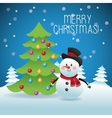 Merry Christmas concept with snowman and pine tree vector image