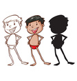 Sketches of a boy in different colors vector image