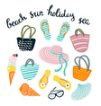 Summer set with beach accessories isolated on the vector image