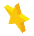 Gold rating star icon isometric 3d style vector image
