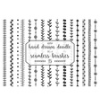 15 Hand drawn doodle seamless brushes vector image