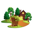 log cabin with many trees vector image vector image