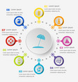 infographic template with beach icons vector image