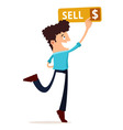 young man press the sell button vector image vector image