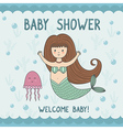 Baby shower card with cute mermaid and jellyfish vector image