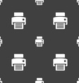 fax printer icon sign Seamless pattern on a gray vector image