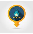 Bonfire pin map flat icon Summer Vacation vector image