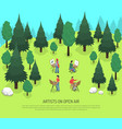 artists on open air isometric vector image