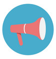megaphone or loudspeaker icon on round blue vector image