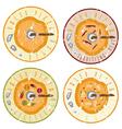 paleo pizza concept vintage grunge labels set vector image