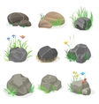 Rocks and stones with grass flowers and butterfly vector image