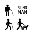 set blind man and seeing eye dog vector image