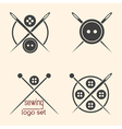 Set of sewing logotypes on beige background vector image