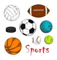 Sporting items for team games colored sketches vector image