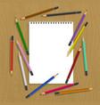 clipboard with color pencils vector image